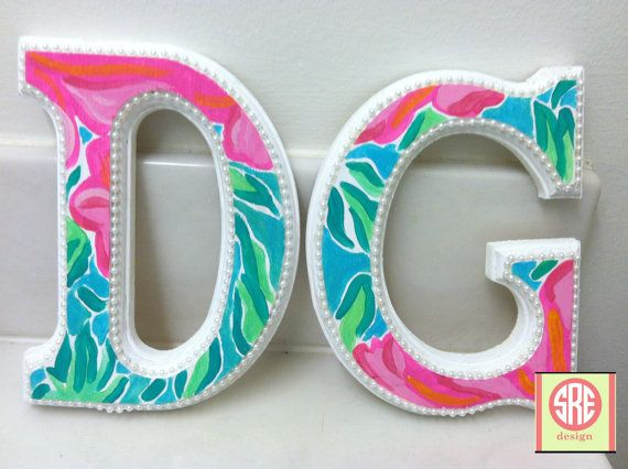 Lilly Pulitzer inspired DG wooden letters with pearls by SREdesign, $20.00