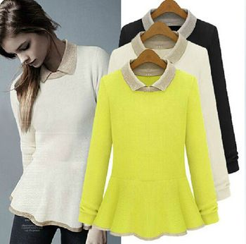 women European style turn down collar sweater women slim knitted basic  sweater peplum women pullover