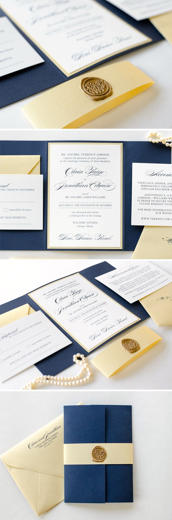 Navy Blue, Gold Shimmer, & Ivory Wedding Invitation Suite with Gold Wax Seal