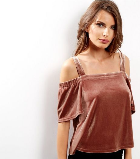 Light Brown Velvet Bardot Neck Top  | New Look