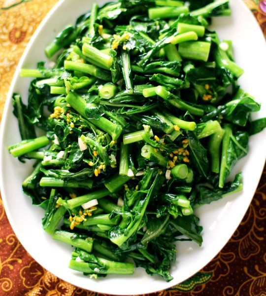 Thai Stir-Fried Greens with Oyster Sauce:  Bright green and tender with a glaze of savory sauce. Add protein like chicken, shrimp or tofu for a complete meal in minutes. #Stir_Fried_Greens
