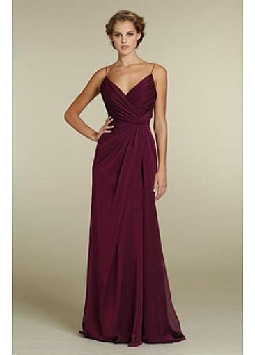 Gorgeous Chiffon Sheath Spaghetti Straps Full Length Bridesmaids Dress  #Dressilyme