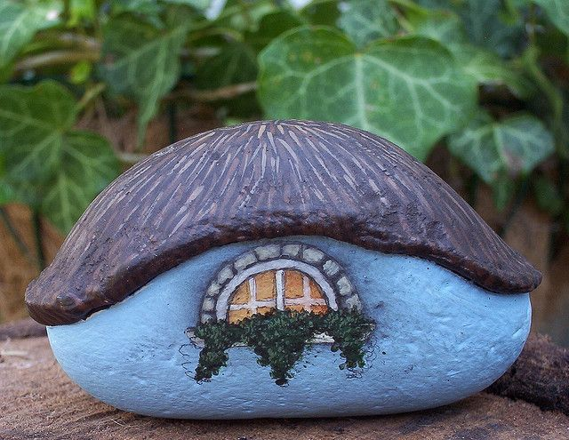 Gnome home, in a painted rock!