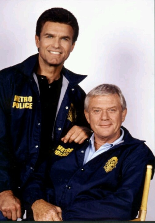 Martin Milner & Kent McCord - still best friends after all these years.  This is a promotional photo for a movie they did together that was centered around two former Police partners who are reunited in a small town.  Both are still in Law Enforcement and they team up once again to fight the local bad guys.