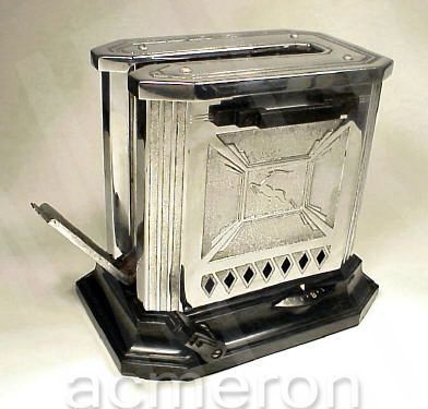"Hotpoint Art Deco toaster with decorative ""leaping gazelle"" design, a typical Art Deco motif."