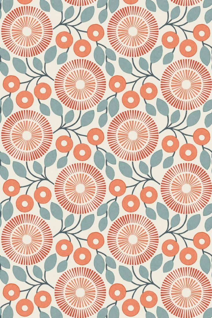 A stylised graphic floral print, shown here in the firecracker colour way by Natasha Marshall.