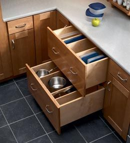 base pots and pans storage drawers makes pots pans lids and other kitchen equipment easy to. Black Bedroom Furniture Sets. Home Design Ideas