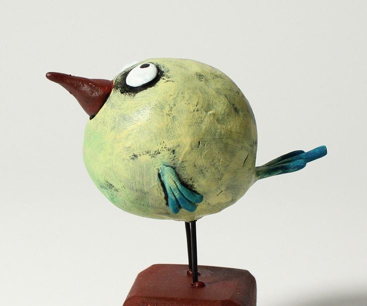 ELUSIVE SQUEAKY TRILLER bird sculpture. $35.00, via Etsy.