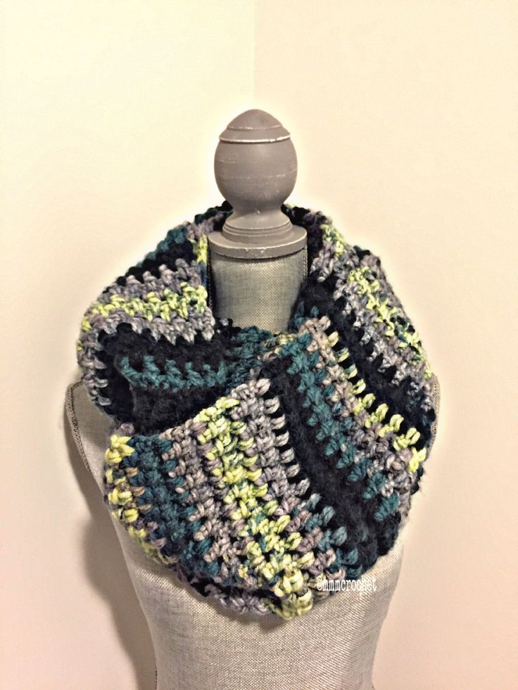 day eight.. infinity scarf in stormy green! details on etsy, shop link in bio!