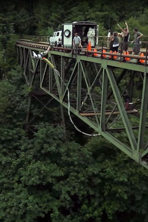Height: 200 feet  Location: Amboy, Washington  from $99 per jump or $129 for two jumps,bungee.com  The Bungee Masters dive off a private bridge over a river right in the middle of the forest. After two jumps (because you'll definitely want to go again) y