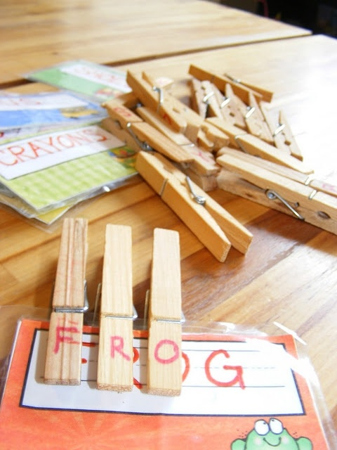 "write alphabet letters on clip end of clothespins; write a word on an index card; child matches clothespin letter to letter on card & covers card w/pin until entire word is ""clipped"""
