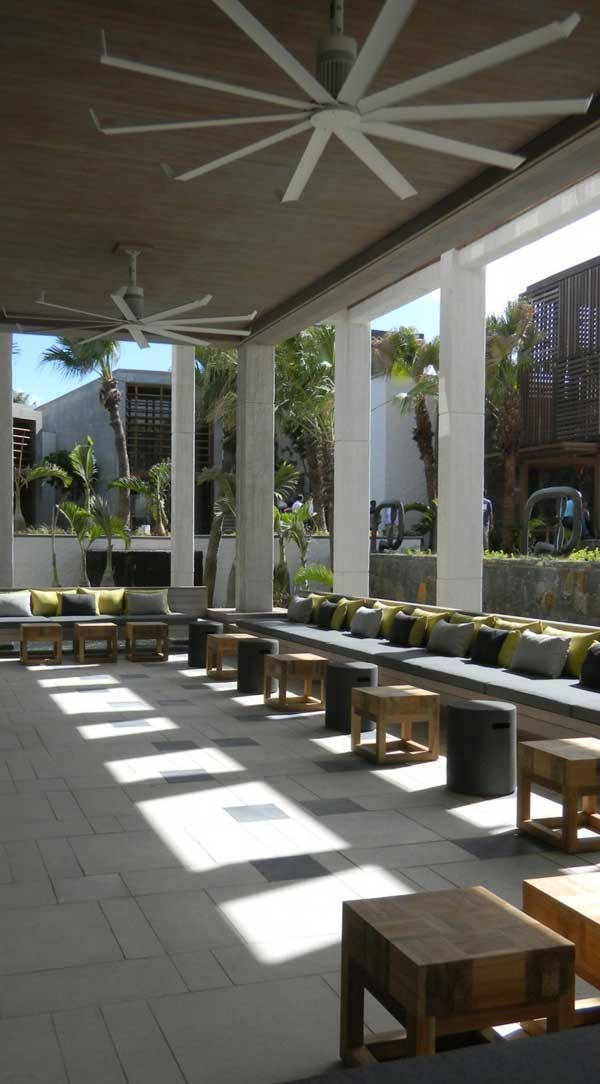Serene Resort On Mauritius' East Coast: Long Beach Hotel. With Big Ass fans.