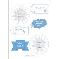 Etiquettes de Noël et range couverts à imprimer pour un Noël bleu polaire !