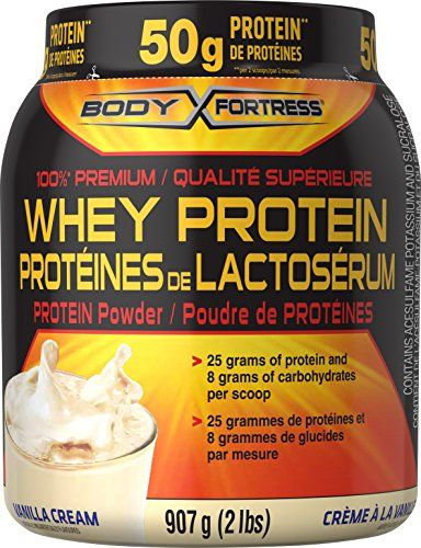 100% premium whey protein powder  25 grams of protein per scoop  8 grams of carbohydrates per scoop