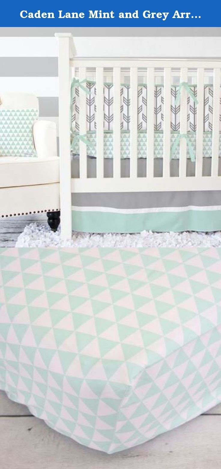 """Caden Lane Mint and Grey Arrow 2 Piece Crib Bedding Set. We just can't stop drooling over our newest modern baby bedding trend, arrows and the color mint! Our exclusive Caden Lane fabrics have a mod feel to them, with trendy arrow designs and an eclectic triangle accent, it's perfect for a trendy and modern nursery design. Crib Bedding Details: 2pc set includes sheet and skirt (Don't forget to add the accessories!) Fitted crib sheet fits standard crib mattresses 28""""x52"""" Crib skirt…"""