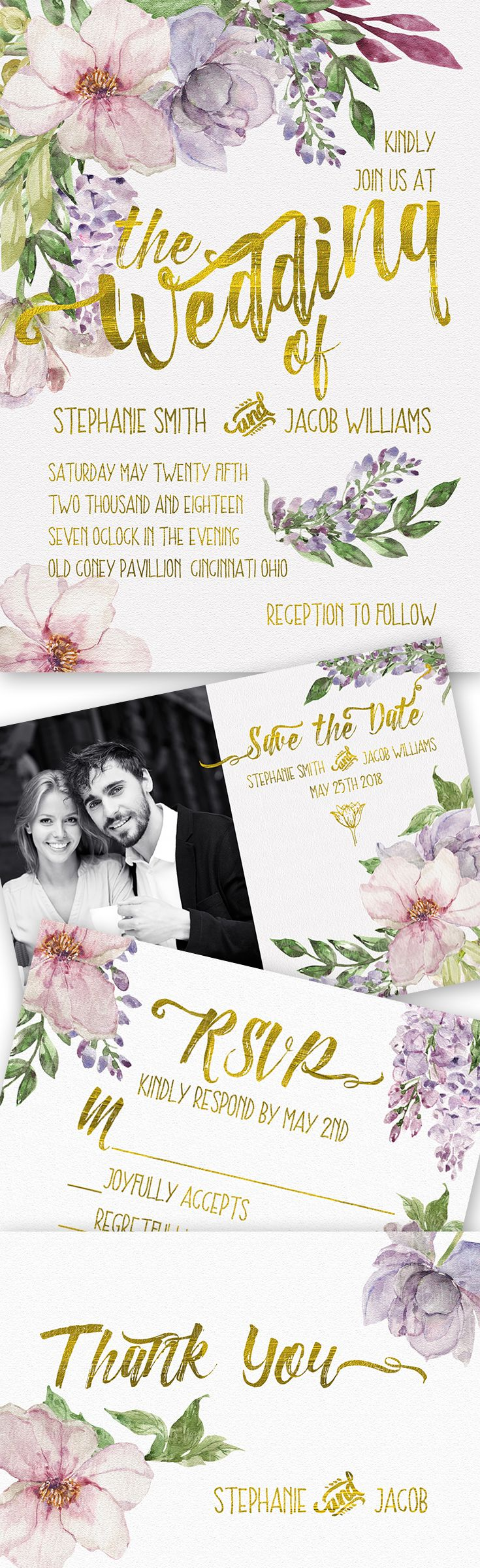 This is a wedding invitation suite, perfect for that spring or summer wedding!