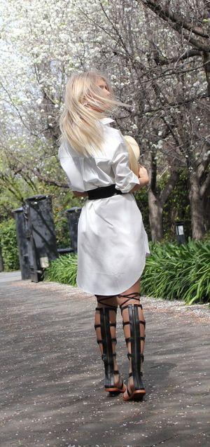 sneakers and pearls, street style, white shift dress, white boyfriend long shirt, knee high gladiators, trending now.JPG