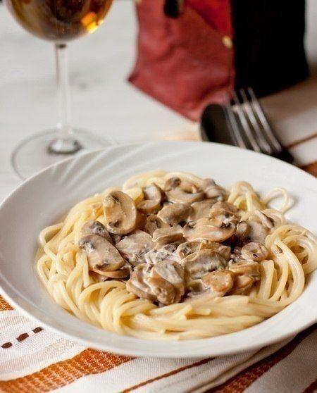 Фото к рецепту: Спагетти со сливочно-грибным соусом.