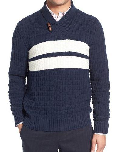 Brooks Brothers Stripe Shawl Collar Sweater