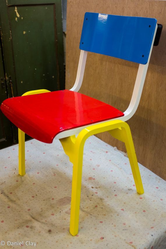 Mondrian style Tecta vintage bent ply stackable chair - perfect for kids and adults!