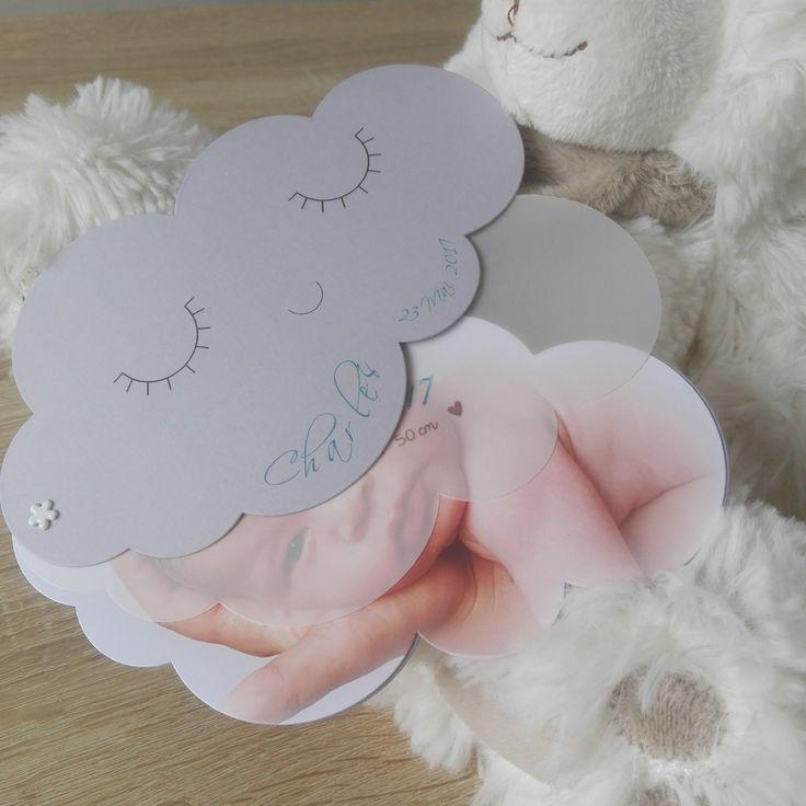 15 Faire-parts de naissance - Nuage - Grand modèle - gris : Faire-part par la-petite-carterie-foxy