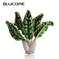Blucome яркие овощи брошь зеленой эмалью капуста Броши Завод корсаж зажимы для костюм шарф платье женские изделия Pins