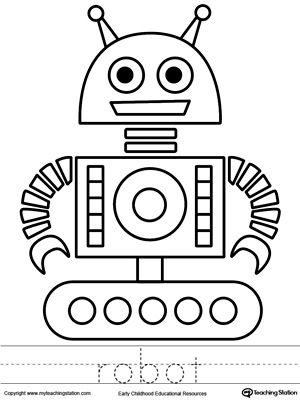 robot coloring page and word tracing - Sheets To Color