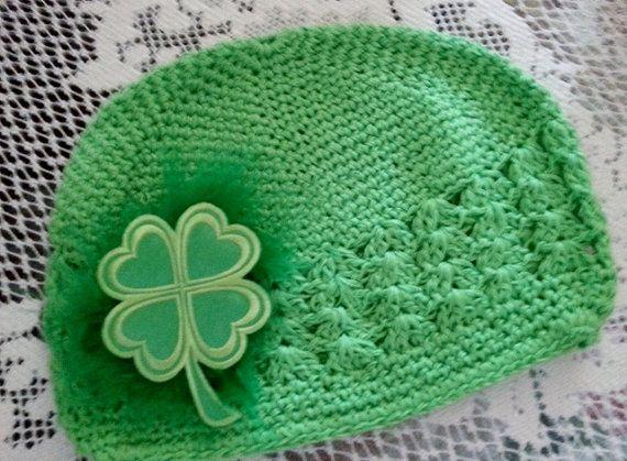 St. Patrick Day Green Hat Shamrock Green Crochet by ArtsyTreats, $12.00