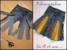 Upcycle denim jeans (or skirt) into a panelled skirt. Du fil et mon...recycler un vieux jean en jupe