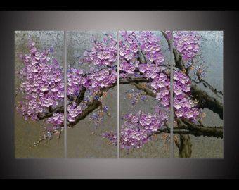 Handgeschilderde woonkamer slaapkamer home decor paarse pruim bloesem bloem boom hangen muur kunst foto zilver folie Paletmes schilderen door Lisa