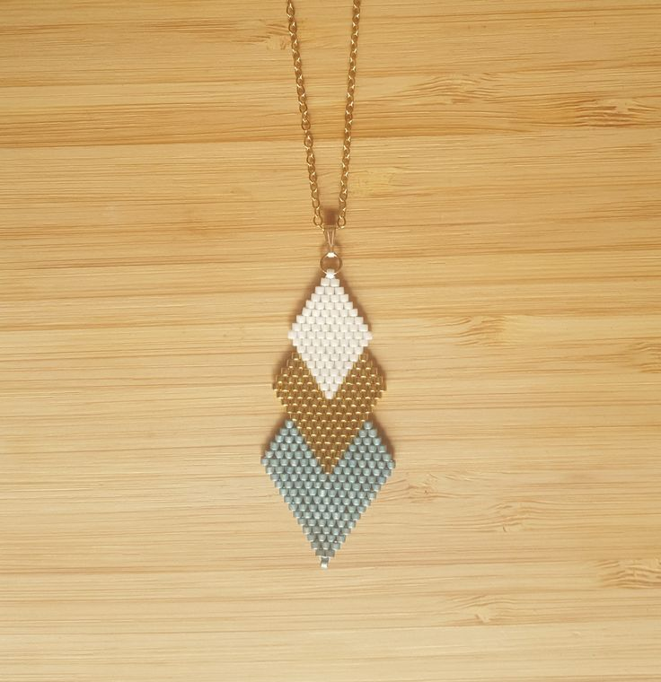 Sautoir Gaia Aqua Plaqué Or et perles de verre Miyuki : Collier par ccedille-bijoux
