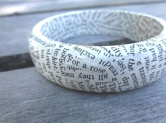 Book Page Bracelets: Super easy, could use text, sheet music, or illustrations.