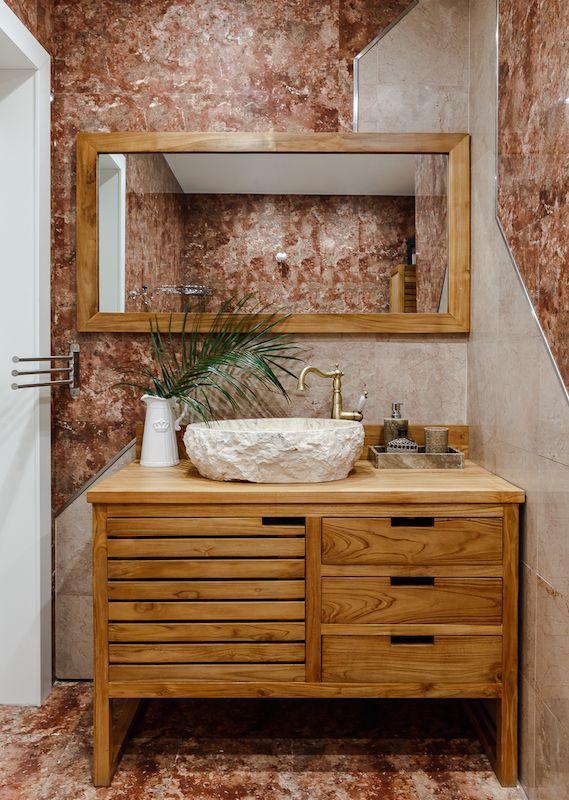 Tropical Chic Bathroom, Pink Marble Bathroom, Teak Bathroom Furniture,  Stone Sink, Stone Wash Basin, Anna Kovalchenko Interiors (interior Design  Marbella, ...