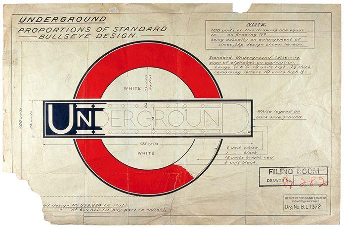 """Johnston - Caractère """"underground"""" pour le métro de Londres - 1915 - Aujourd'hui nommé """"Johnston"""". D'une extrême sobriété, ce caractère préfigure sans doute l'arrivée des  linéale et inspirera fortement Tschichold"""