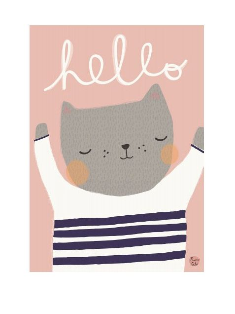 Cat Hello Poster by Psikhouvanjou