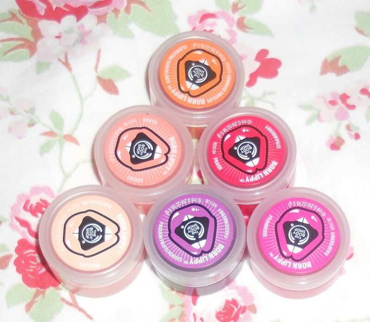 The Body Shop Born Lippy Lip Balms. Satsuma, Watermelon, Strawberry, Guava, Passion Fruit, & Raspberry