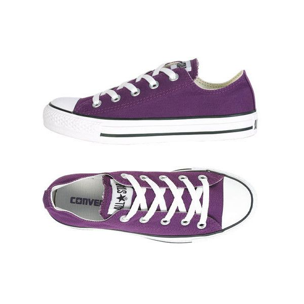 Converse Ox ❤ liked on Polyvore featuring shoes, sneakers, converse, purple, delias, converse trainers, converse sneakers, converse footwear, purple sneakers and converse shoes