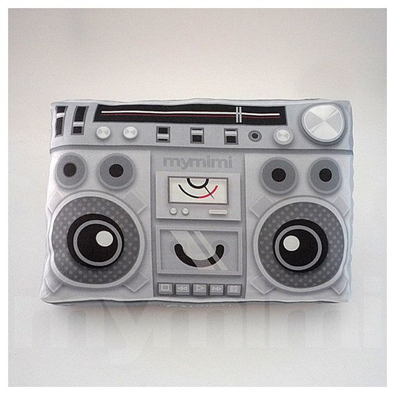 Super cute old style boom box pillow https://www.etsy.com/uk/listing/74355383/old-school-boombox-music-pillow-vintage