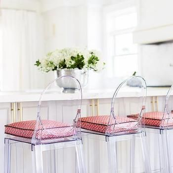 Alyssa Rosenheck: White Kitchen with Pink Accents and Acrylic Counter Stools