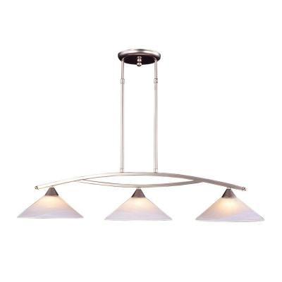 Titan lighting 3 light ceiling mount satin nickel island light tn 5838