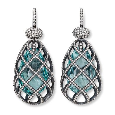 Aquamarine earrings ith Silver, White Gold and Diamonds by Hemmerle