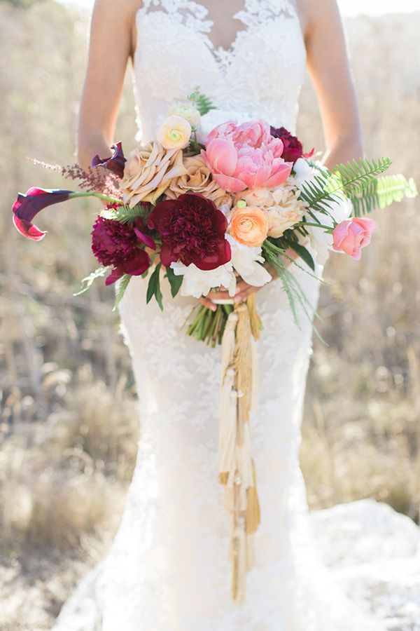 Fuchsia And Blush Summer Bouquet | Carlie Statsky Photography | Luxe Bohemian  Wedding In Jewel Tones