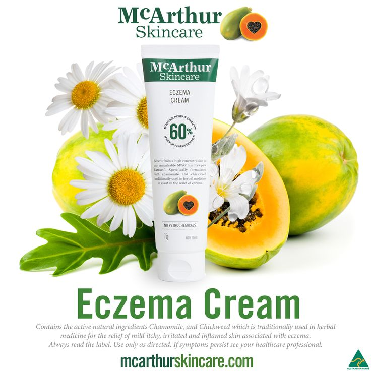 McArthur Skincare Eczema Cream   Our specially formulated eczema cream contains the active natural ingredients Chamomile, and Chickweed which is traditionally used in herbal medicine for the relief of mild itchy, irritated and inflamed skin associated with eczema. Our Therapeutic range of products are listed on the Australian Register of Therapeutic Goods. This eczema cream is gentle enough to be used on babies and small children.   Always read the label. Use only as directed. If symptoms…