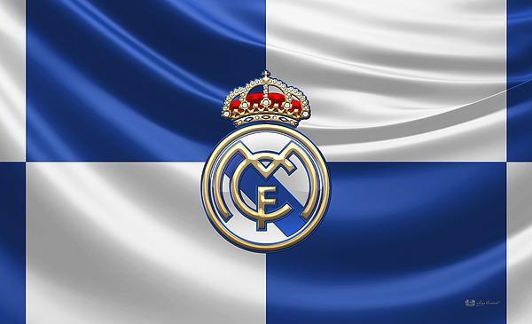 Real Madrid CF - 3D Badge over Flag fine art print by Serge Averbukh via FineArt America...