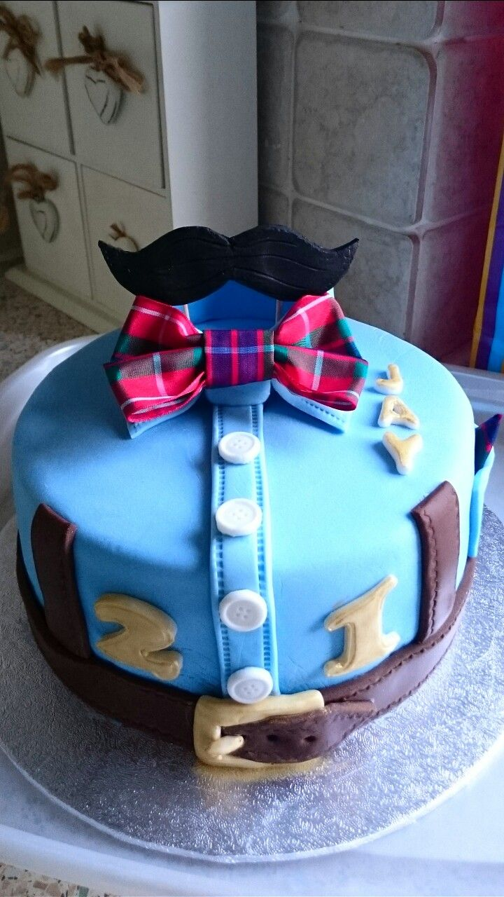 Shirt and bow tie,  belt and braces, Moustache 21st birthday cake
