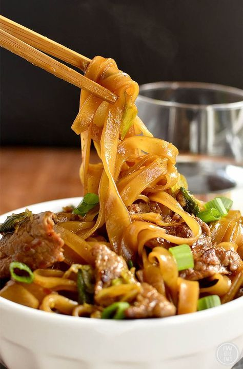 Mongolian Beef Noodle Bowls taste just like take out, swapping rice for chewy rice noodles! | http://iowagirleats.com