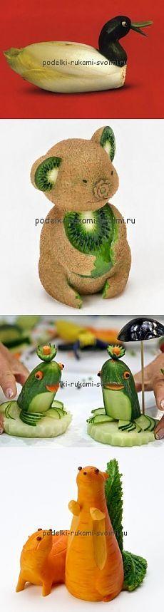 Осенние поделки из овощей и фруктов. Детские поделки в садик.