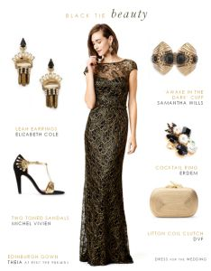 Black and gold evening gown, a beautiful black tie look for a wedding guest dress or a mother of the bride or mother of the groom