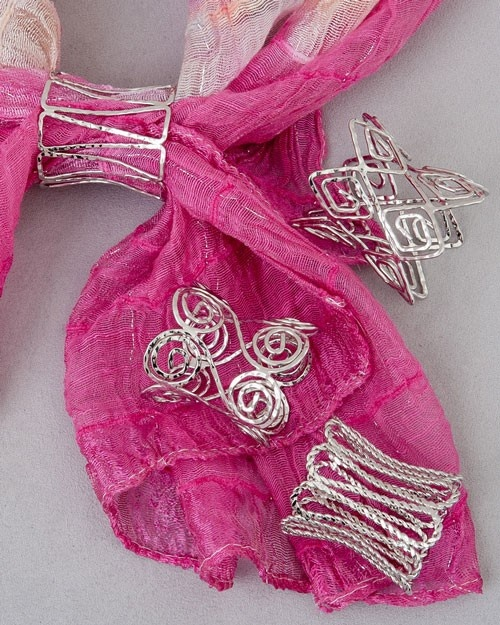 Open wire scarf jewelry! #scarves #scarf jewelry - this would be much cooler as bangles instead of scarf jewelry.