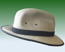 Woolrich Cotton Twill Fedora Outback Outdoors Hat Faux Suede Band Large 7-1/2